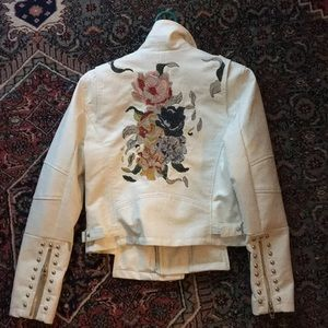 BLANKNYC Vegan Embroidered Leather Jacket, White